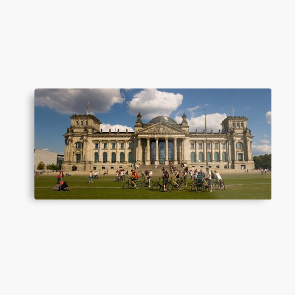 Bicyclists In Front Of Reichstag, Berlin, Germany Metal Print