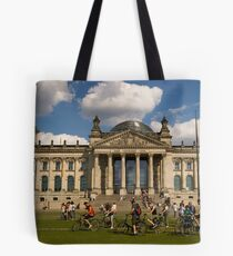 Bicyclists In Front Of Reichstag, Berlin, Germany Tote Bag
