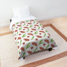 Woodland Pine Cones Pattern on White Comforter