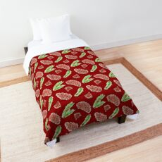 Christmas Woodland Pine Cones Pattern on Red Comforter
