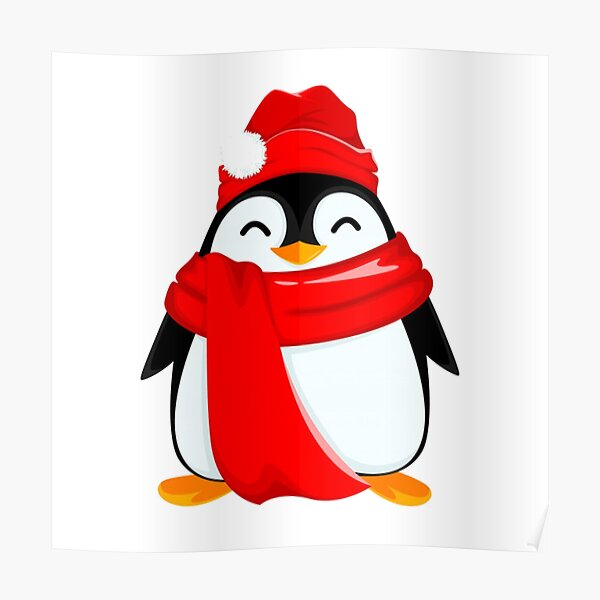 Happy Santa for the Baby Penguins Poster