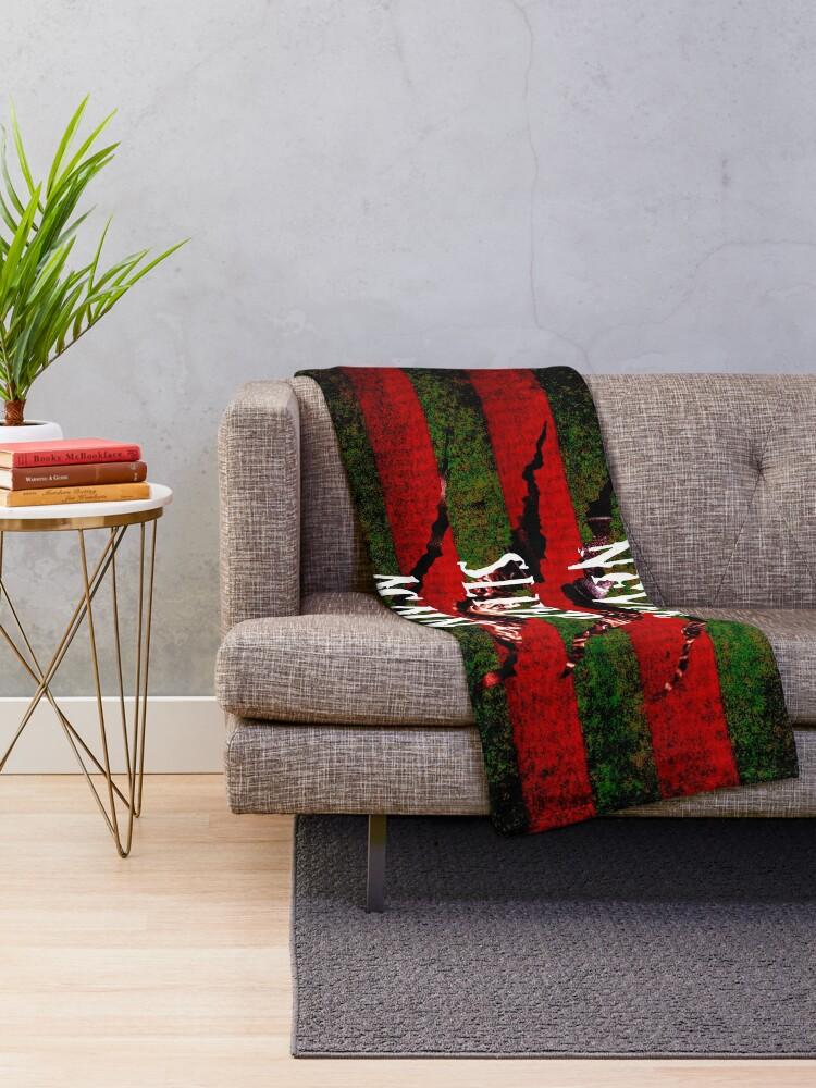 Alternate view of Freddy Krueger Never Sleep Again Throw Blanket