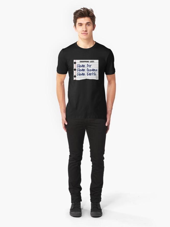 Alternative Ansicht von Shopping List Clean Oceans Clean Earth - Earthday Slim Fit T-Shirt