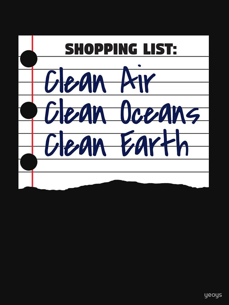 Shopping List Clean Oceans Clean Earth - Earthday von yeoys