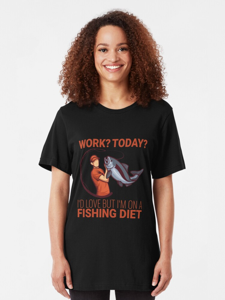 Alternative Ansicht von Work I'd Love But I'm On A Fishing Diet - Old Fisherman Slim Fit T-Shirt