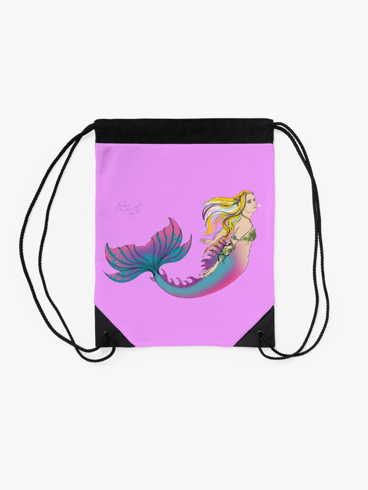 Alternate view of Drawstring & Tote Bags: Jaime the Mermaid by Ali Drawstring Bag