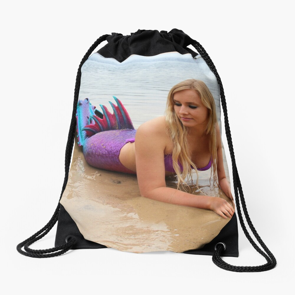 Jaime the Mermaid at the Beach Drawstring Bag