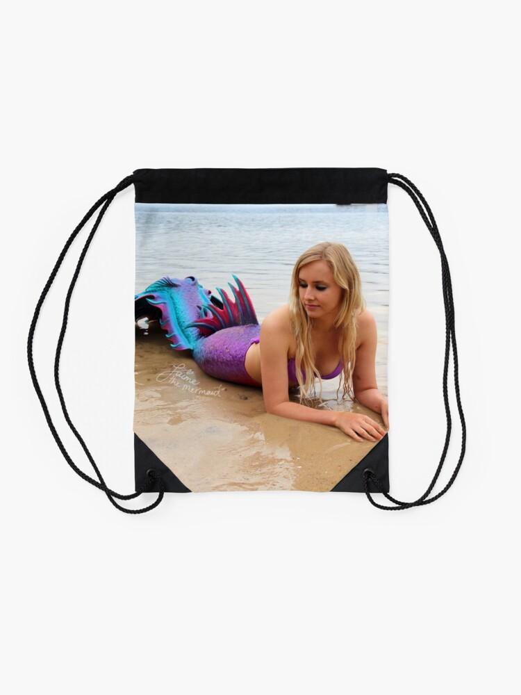 Alternate view of Jaime the Mermaid at the Beach Drawstring Bag