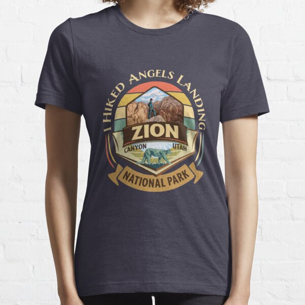 Zion National Park Utah I Hiked Angels Landings Retro Vintage Style Badge Design with Hiker and Cougar  Essential T-Shirt