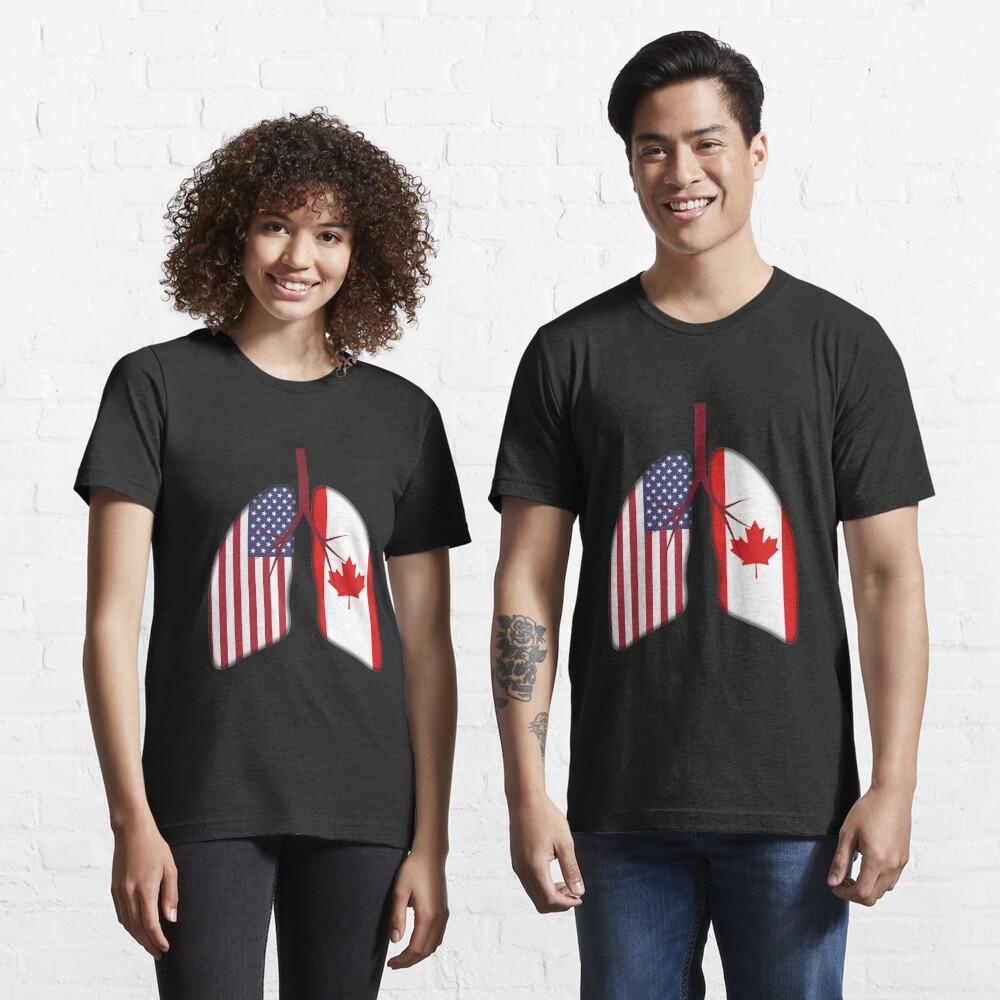 USA Canada Flag Lungs - Dual Citizenship Essential T-Shirt