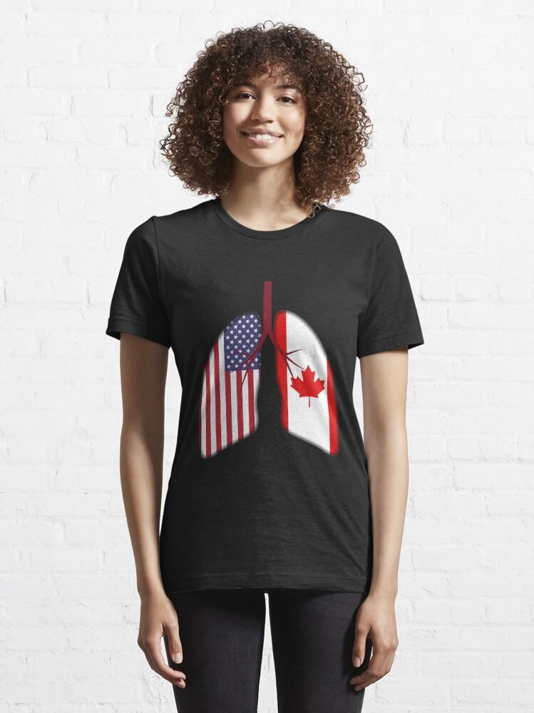 Alternate view of USA Canada Flag Lungs - Dual Citizenship Essential T-Shirt