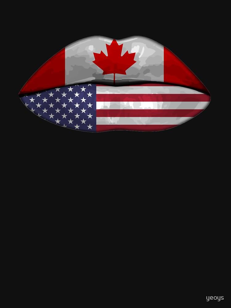 USA Canada Flag Lips - Dual Citizenship von yeoys