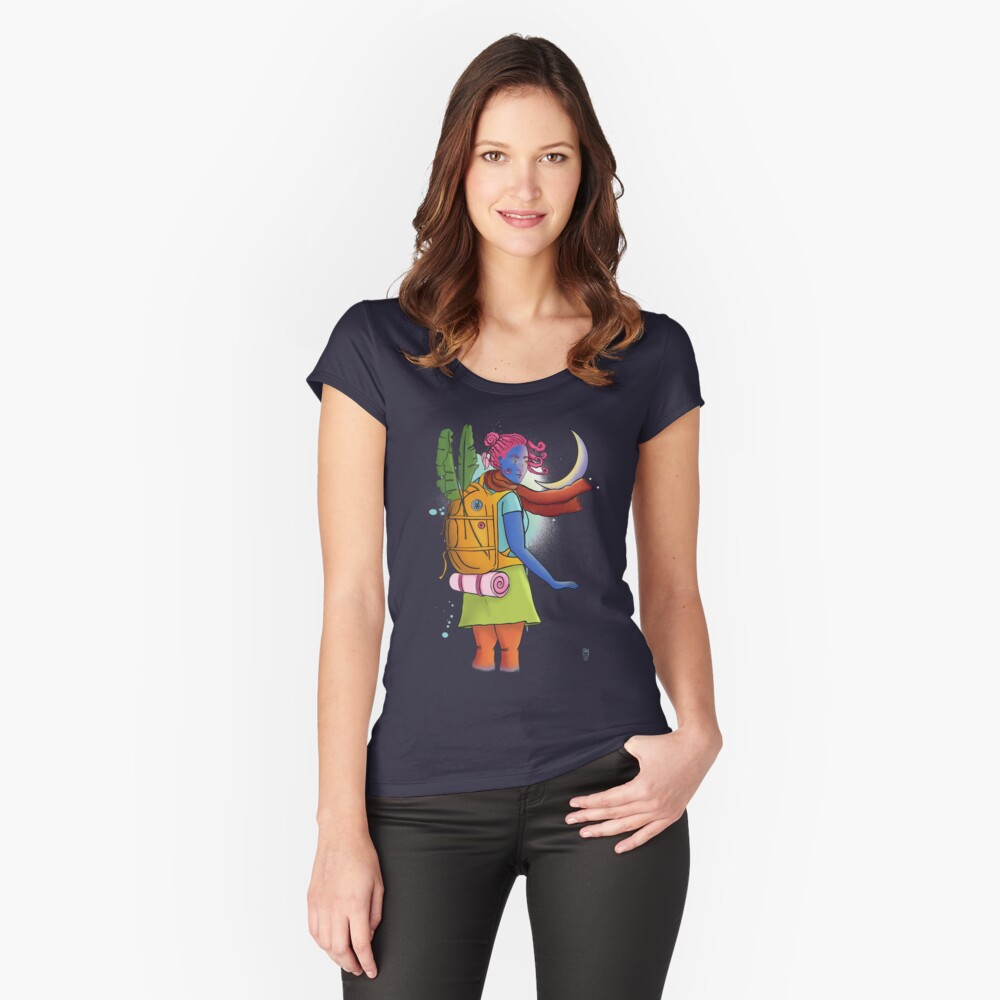 Don't come any closer - woman traveler illustration Fitted Scoop T-Shirt