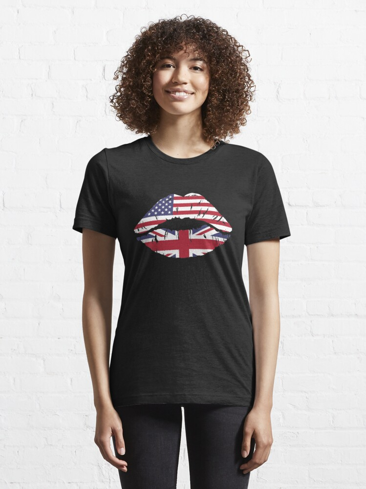 Alternate view of USA United Kingdom Kiss - Dual Citizenship Essential T-Shirt