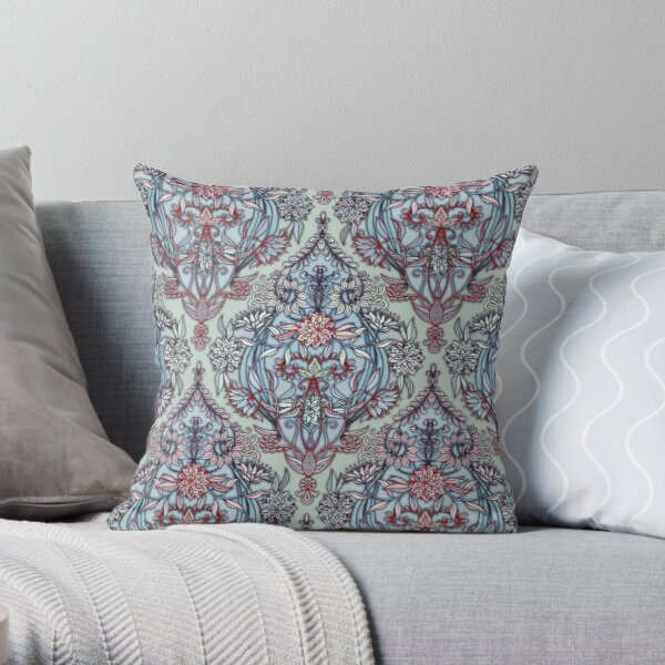 Botanical Moroccan Doodle Pattern in Navy Blue, Red & Grey Throw Pillow