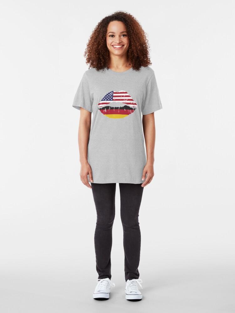 Alternative Ansicht von USA Germany Kiss - Dual Citizenship Slim Fit T-Shirt