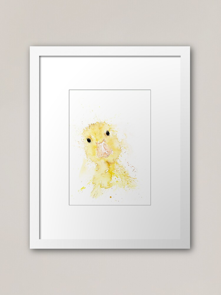 Baby Duck Cute Duckling Watercolour Painting By Syman Kaye Framed Art Print By Syman Redbubble