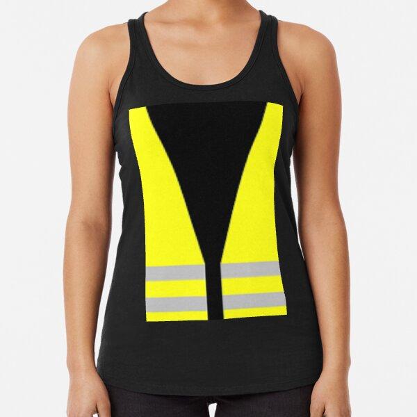 #Yellow, #high-#visibility #clothing, patriotism, symbol, design, illustration, rows, striped Racerback Tank Top