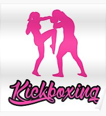 Kickboxing Female Knee Pink Poster