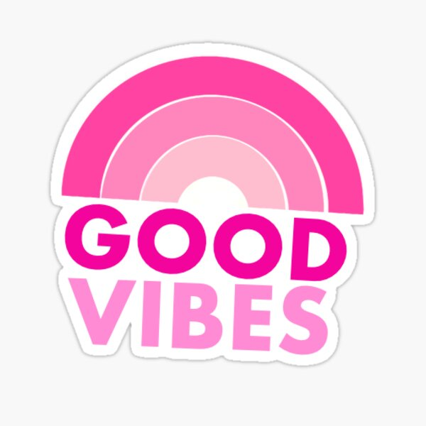 Hot Pink Good Vibes Rainbow Sticker