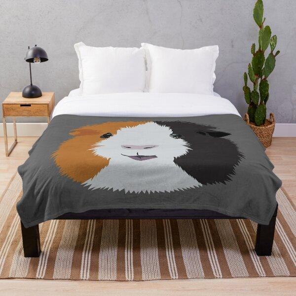 Orange, White, and Black Guinea Pig Throw Blanket