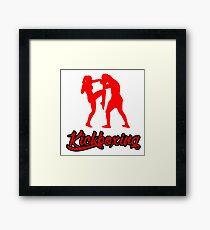 Kickboxing Female Knee Red Framed Print
