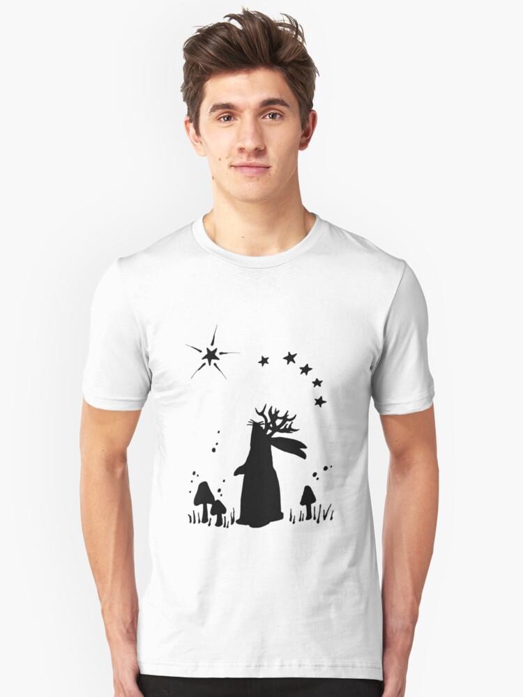 Jackalope Night - B&W Unisex T-Shirt Front