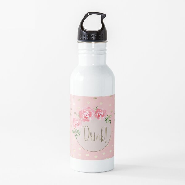 Cute Pink, Gold, Floral Girly Design Water Bottle