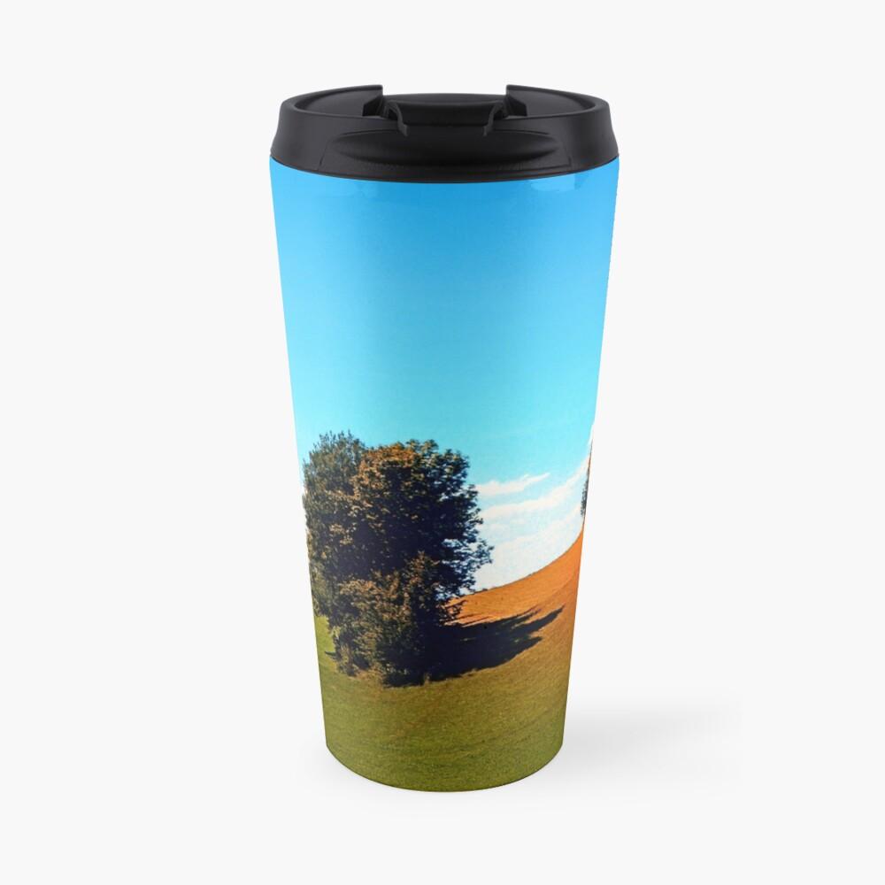 Trees, a hidden farm and fields of summer Travel Mug