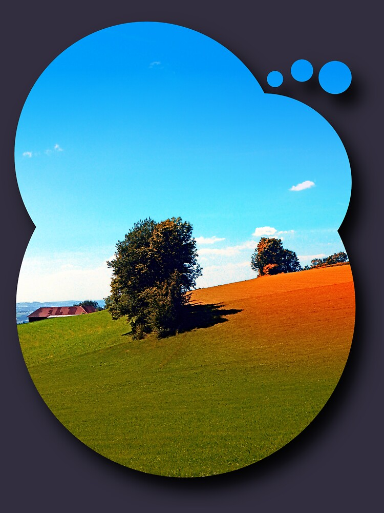Trees, a hidden farm and fields of summer by patrickjobst