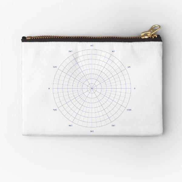 graph paper of polar coordinates, #graph #paper #polar #coordinates #GraphPaper #PolarCoordinates Zipper Pouch