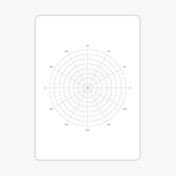 graph paper of polar coordinates, #graph #paper #polar #coordinates #GraphPaper #PolarCoordinates Sticker