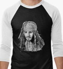 Captain Jack Sparrow (b/w) Men's Baseball ¾ T-Shirt