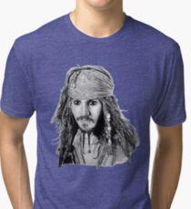 Captain Jack Sparrow (b/w) Tri-blend T-Shirt
