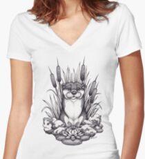 Otter & Aquatic Plants Women's Fitted V-Neck T-Shirt