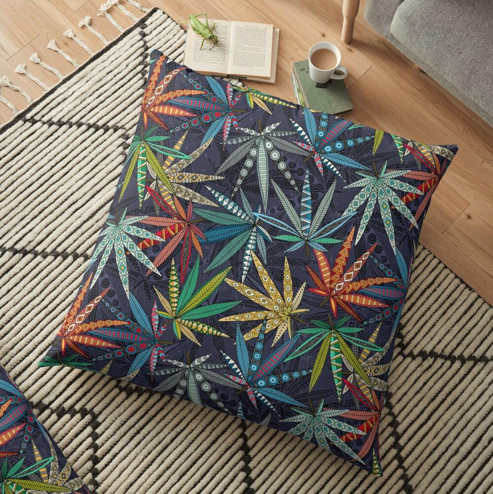 boho weed midnight Floor Pillow