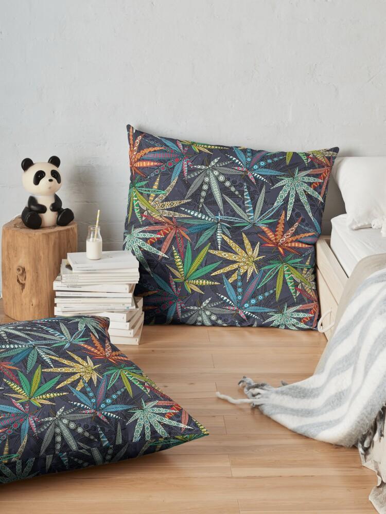 Alternate view of boho weed midnight Floor Pillow