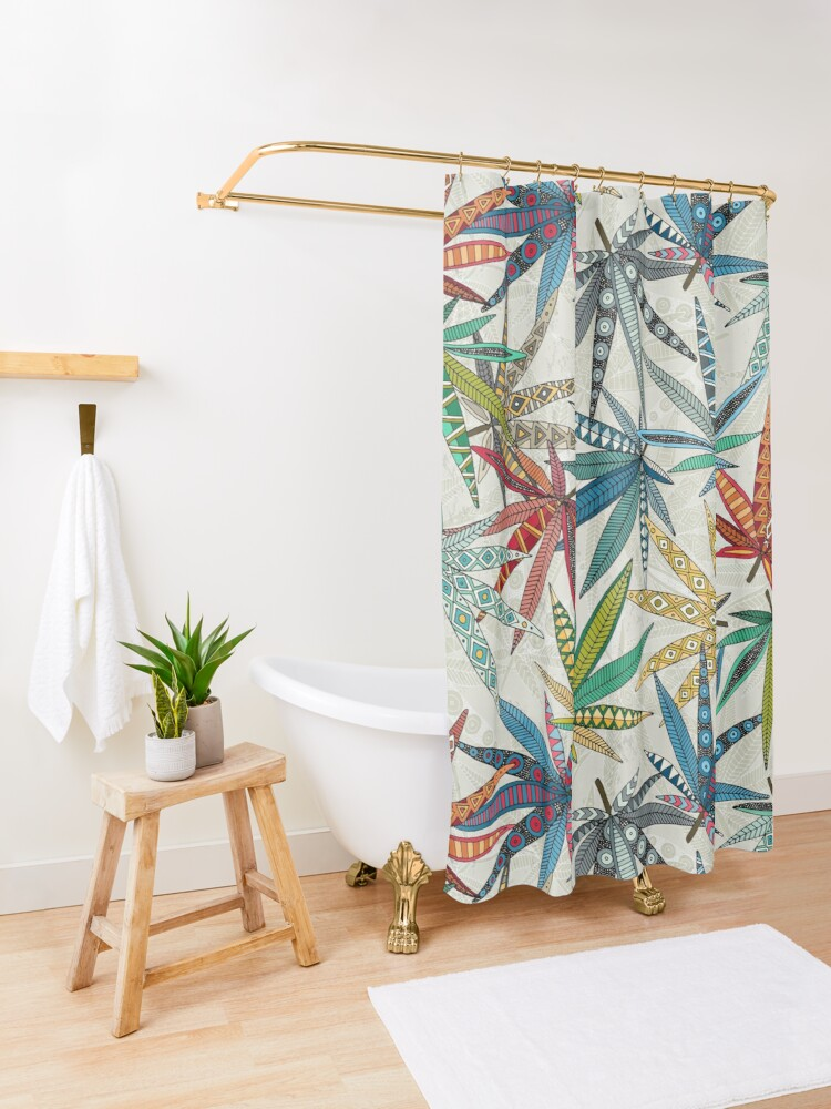 Alternate view of boho weed light Shower Curtain