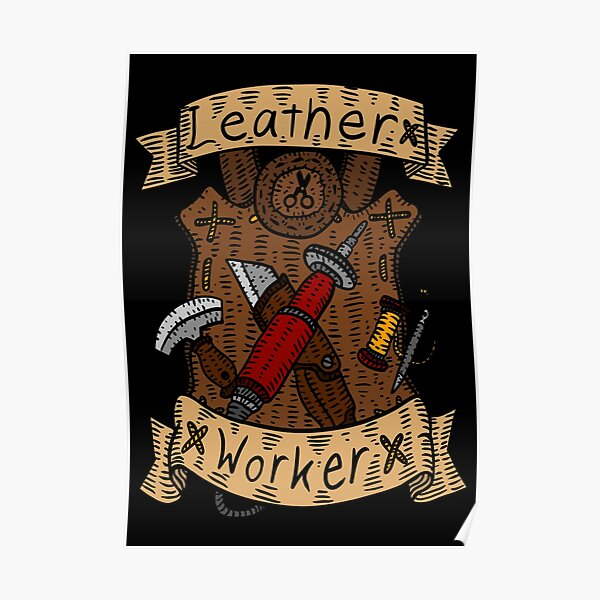 leather working. leather burning art. Poster