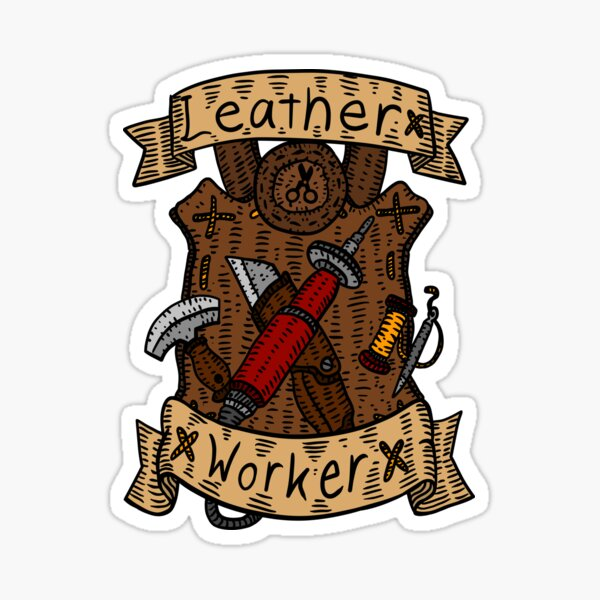 leather working. leather burning art. Sticker