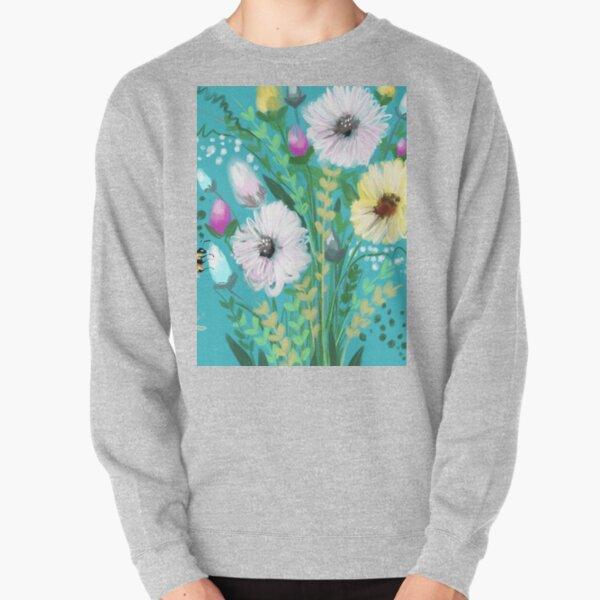 Turquoise flower Meadow  Pullover Sweatshirt