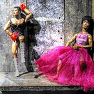Boxer with Dancer S & M Dolls - Camden Market Stall by Victoria limerick