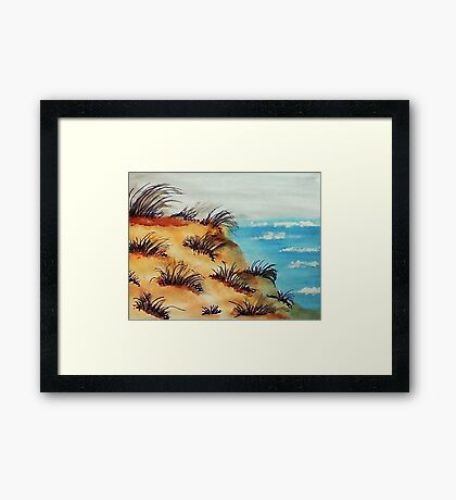 Looking Out Over the Bluff on Sand Dunes, watercolor Framed Print
