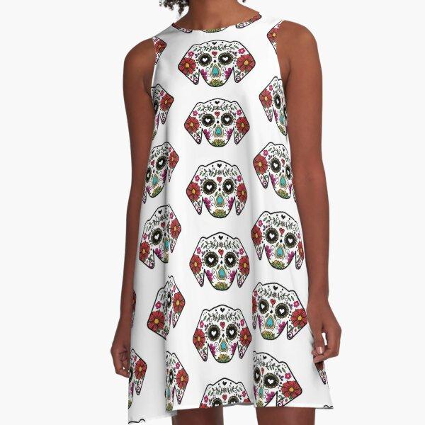 Sugar Skull Dog A-Line Dress