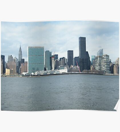 East River View of Manhattan, As Seen from Long Island City Poster