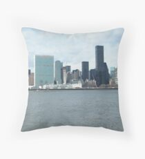 East River View of Manhattan, As Seen from Long Island City Throw Pillow