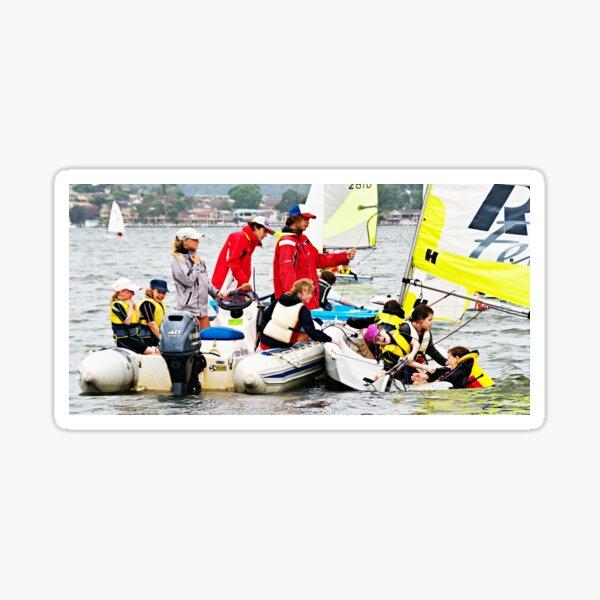 Children having fun sailing on the Gosford Broad Water.  Sticker