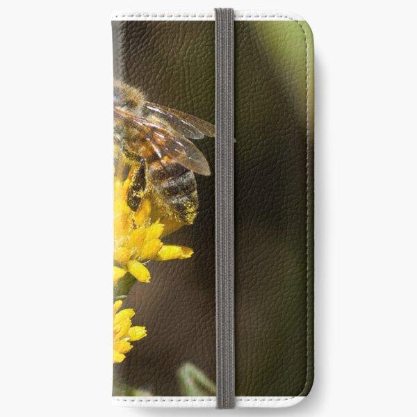 Macro photo of a pollen laden bee iPhone Wallet