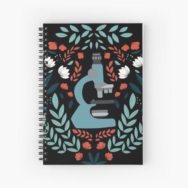 Blue Folk Microscope Spiral Notebook