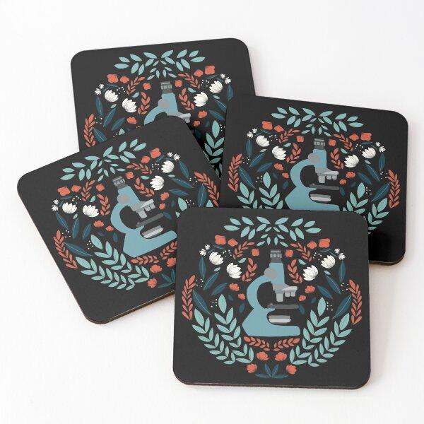 Blue Folk Microscope Coasters (Set of 4)